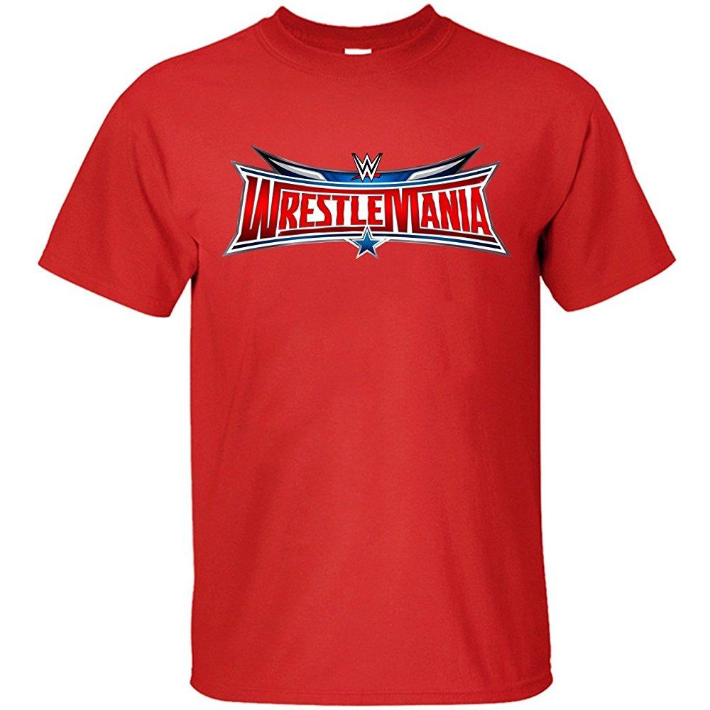 Jiuhe Mens Wrestlemania 32 Logo Cotton T Shirt Red M T Shirt Cotton Tshirt Shirts