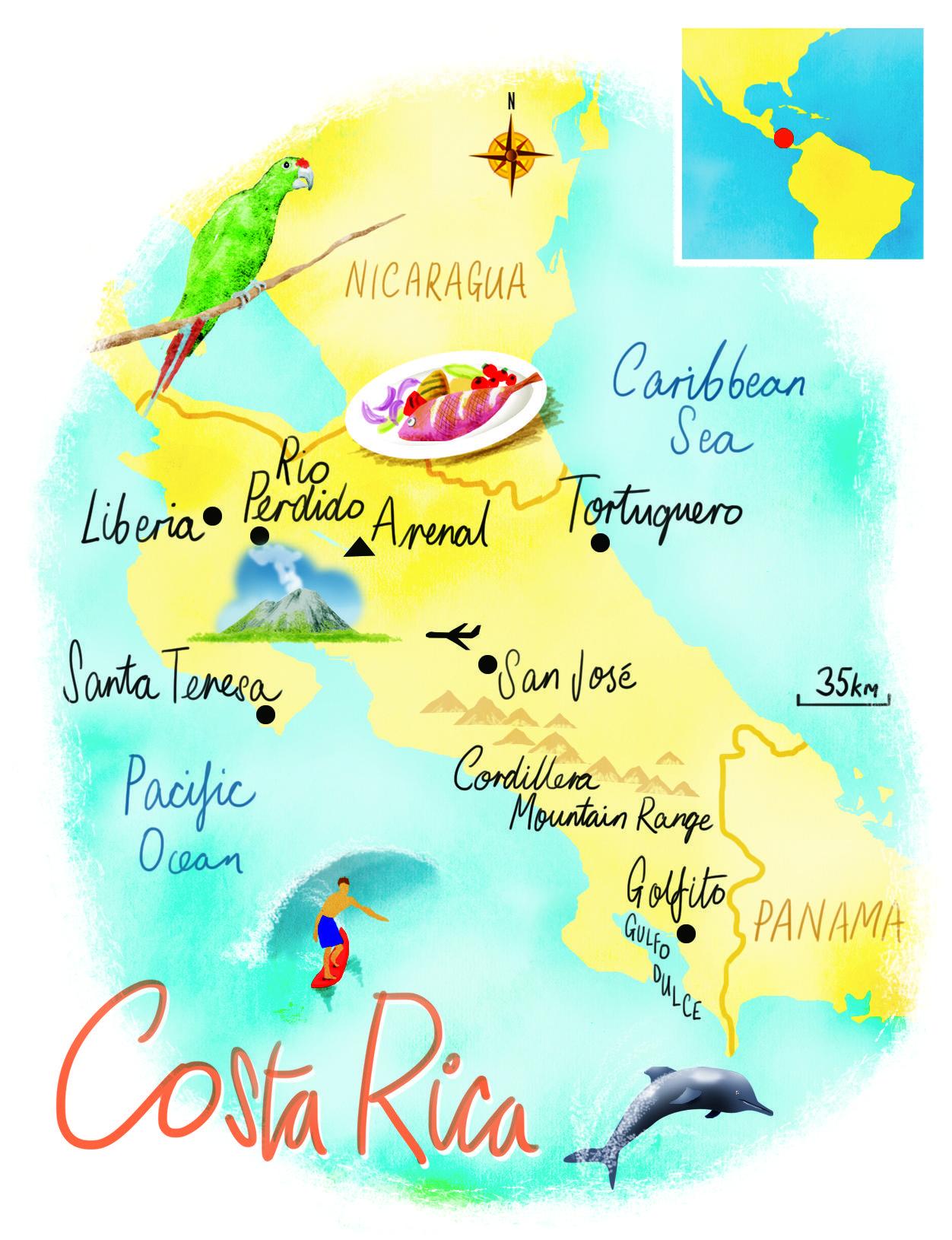Costa Rica Karte Mittelamerika.Costa Rica Map By Scott Jessop Mittelamerika Mexiko In 2019