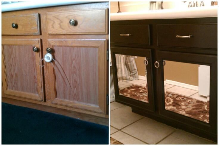 DIY Before & After ; Golden Oak to Mirrored Espresso. Used ...