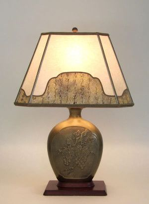 Antique Brass Table Lamp With Grapes And Leaves Parchment Paper Lamp Shade With Decorative Border Antique Table Lamps Table Lamp Brass Table Lamps
