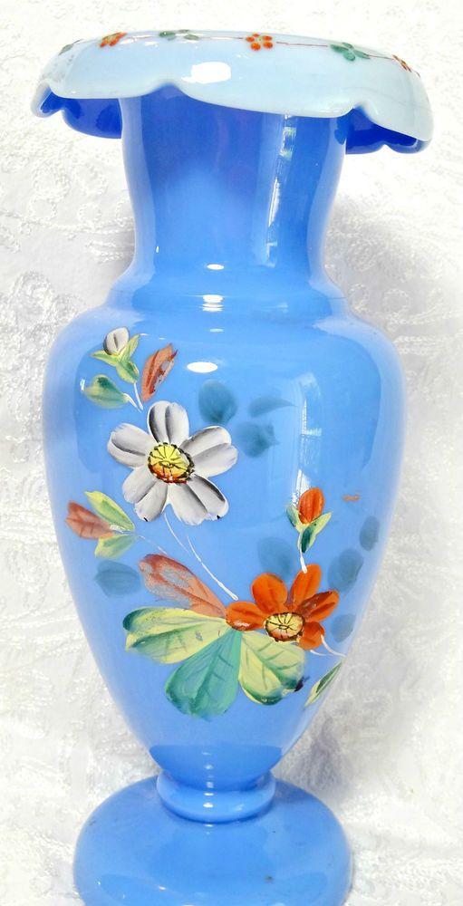 Antique Victorian Bristol Glass Vase Blue Hand Painted Flowers Rough