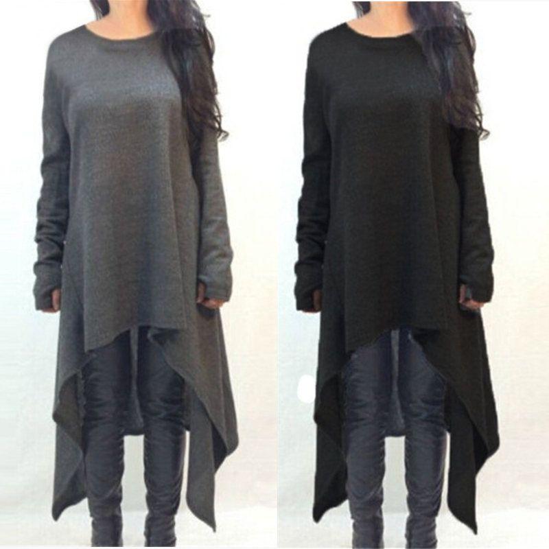 Nuove donne autunno inverno dress manica lunga maglia abiti maglione di modo irregolare hem maxi dress plus size s-3xl vestidos