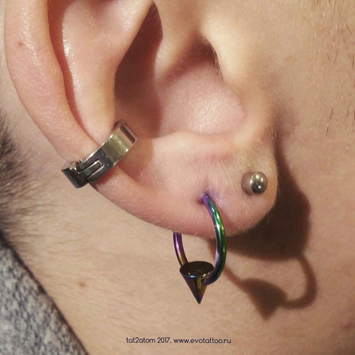 Пирсинг мочки уха(второй прокол мочки). Украшение из анодированного титана  G23 3dc439d11a16d