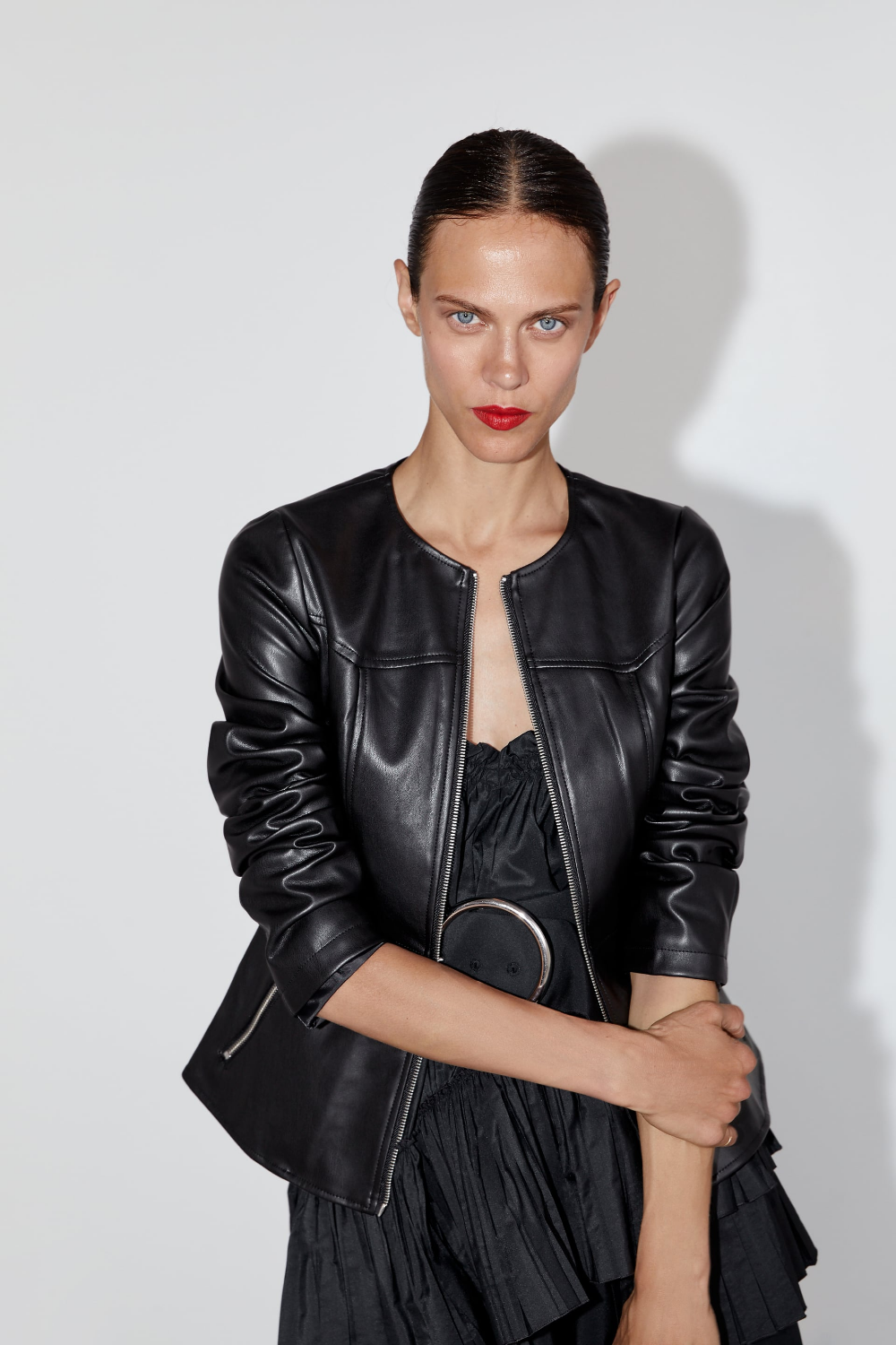 Faux leather jacket Faux leather jackets, Black leather