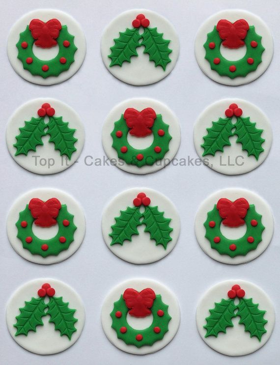 Christmas Cake Decoration Holly : Fondant Cupcake Toppers - Christmas Holly & Wreath ...