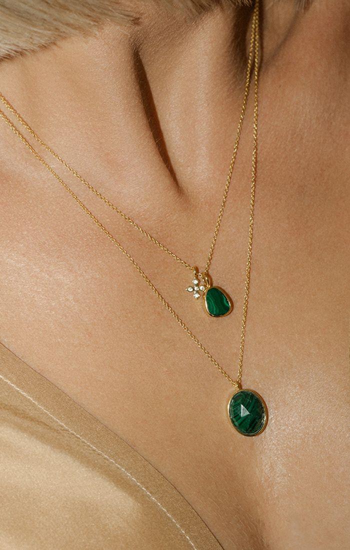 Photo of Leah Alexandra jewelry malachite stone jewelry gold necklace layers