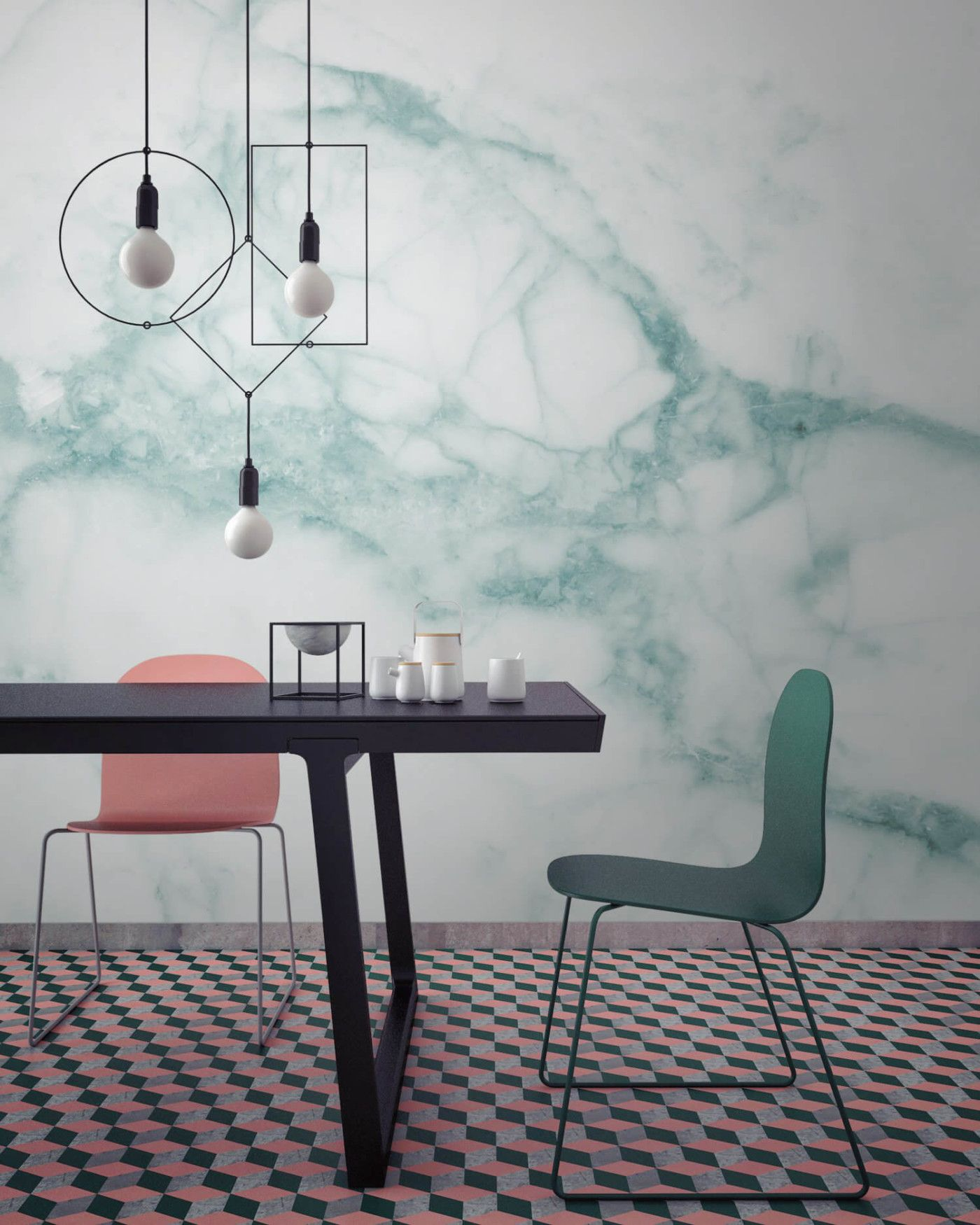 White and Green Marble Wallpaper Trending decor, Decor