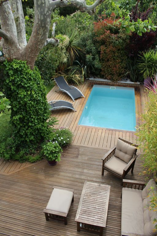 Piscine avec terrasse en bois cachée dans la verdure Jacuzzi - terrasse bois avec bassin
