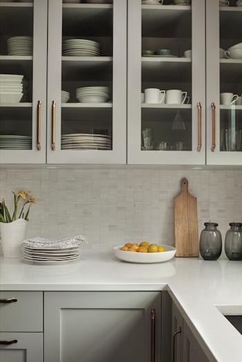 Grey Cabinets, Brass Pulls, Marble Backsplash: Sophie Burke Design Part 62