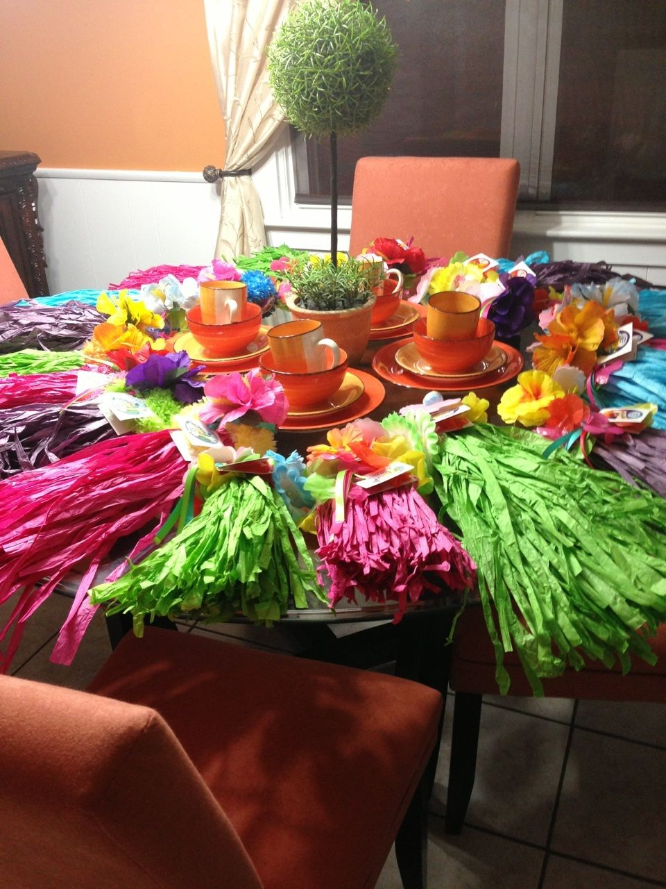 Luau Party Grass Skirts Lei Hibiscus Flower For The Girls Hair