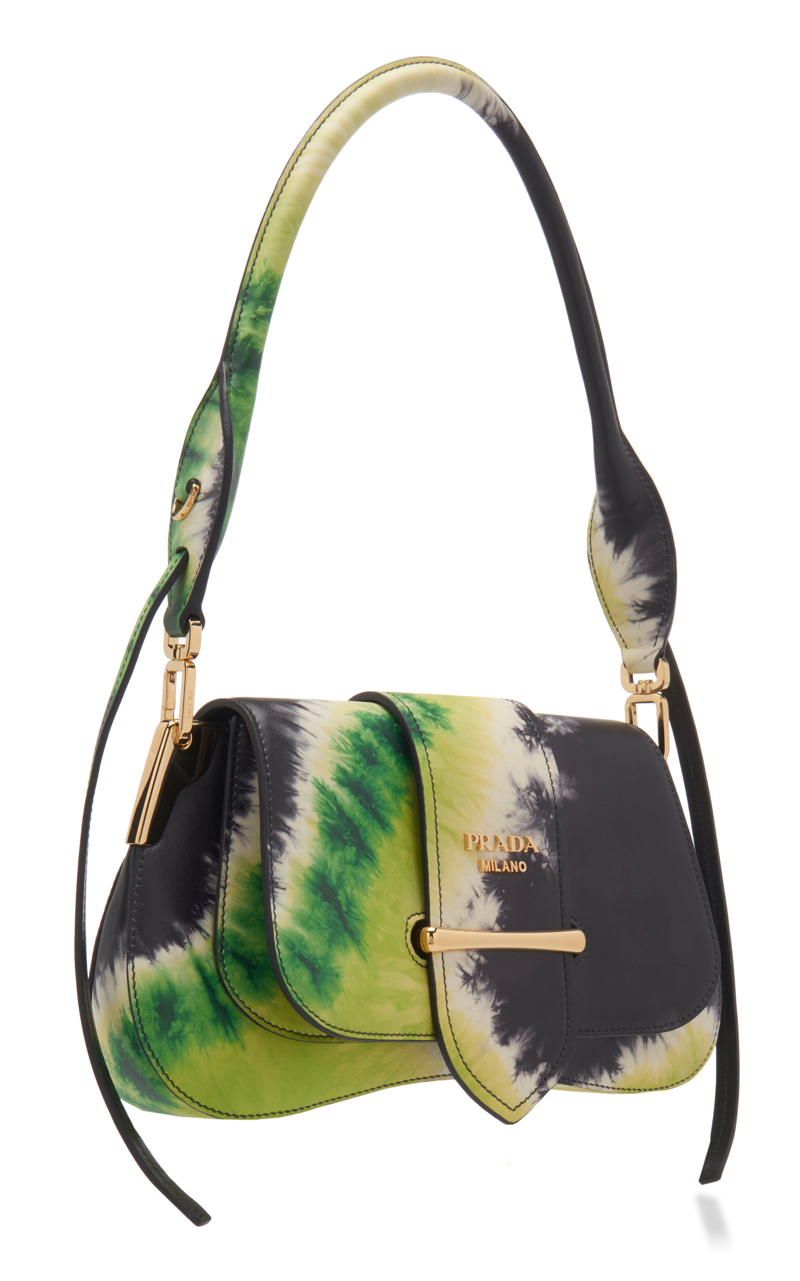 Prada Pattina Tie-Dye Leather Shoulder Bag | Tie dye leather, Alligator bag, Leather shoulder bag