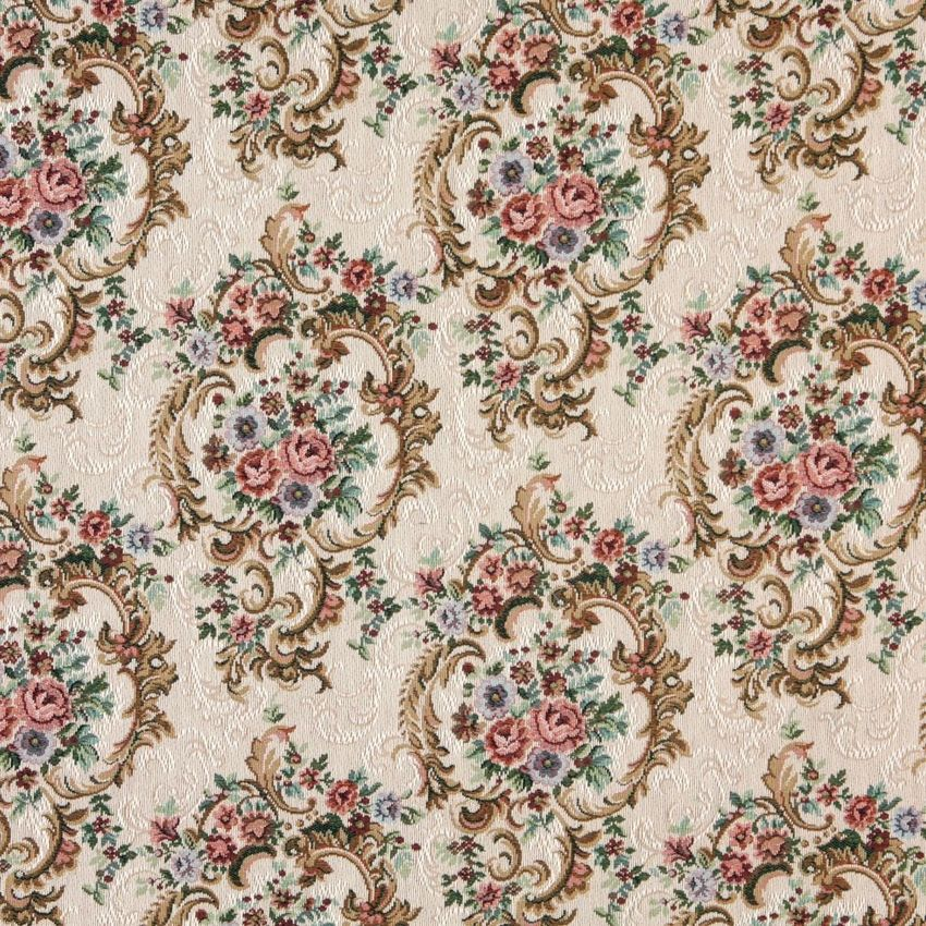 Tan Beige And Pink Fuchsia Vintage Floral Victorian Heirloom Upholstery Fabric Tapestry Fabric Floral Upholstery Upholstery Fabric