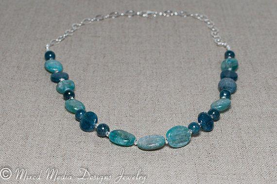 Green Kyanite & Blue Apatite Sterling Silver by MixedMediaDesigns1, $89.00