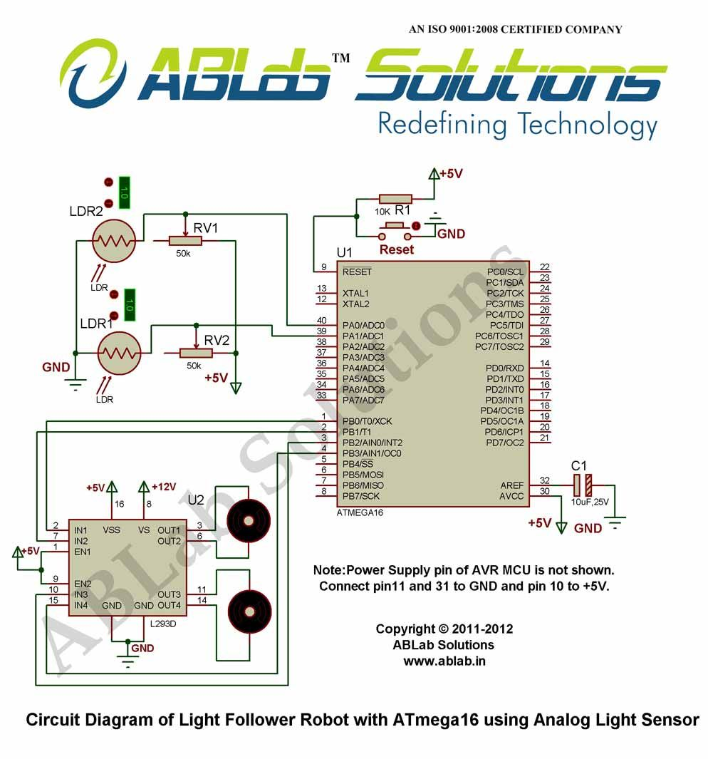 Light-Follower-Robot-with-AVR ATmega16 Microcontroller -using-Analog-Light-Sensor  Circuit Diagram