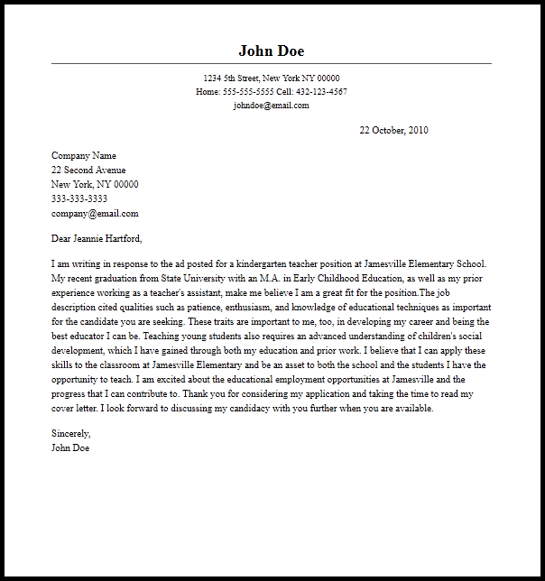 Professional Kindergarten Teacher Cover Letter Sample Amp Writing