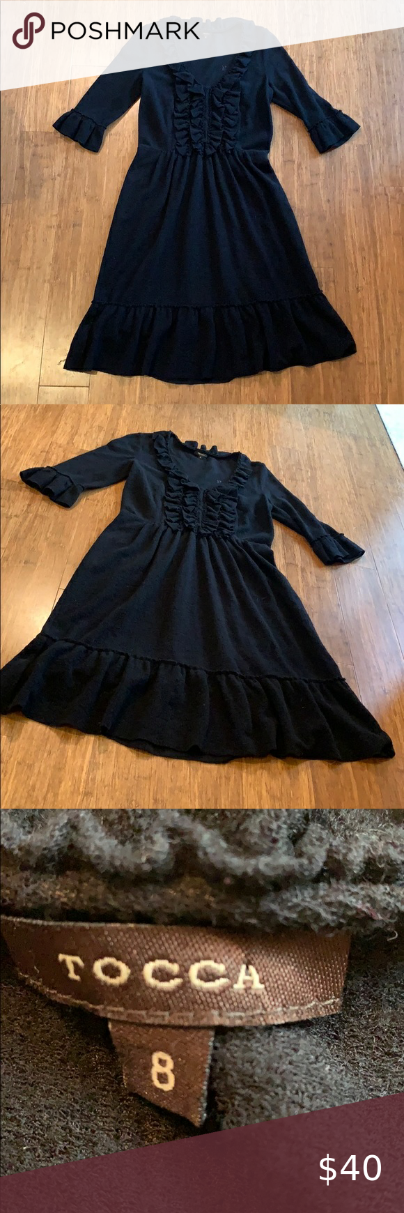 Tocca Audrey Ruffle Peplum Black Dress Black Peplum Dress Black Dress Dresses [ 1740 x 580 Pixel ]