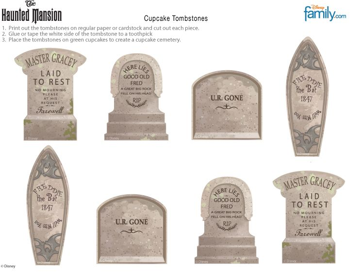 Diy haunted mansion cupcake tombstones disney halloween for Tombstone templates for halloween