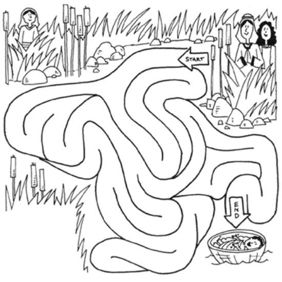coloring page of baby moses basket saved moseslife can