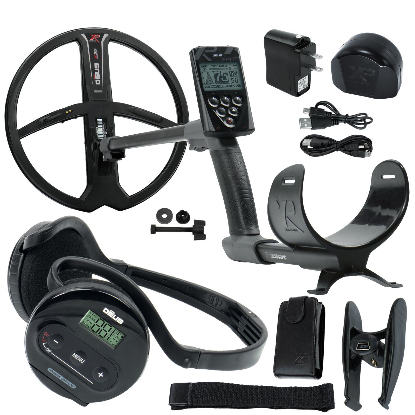 "XP Deus Metal Detector with WS4 Wireless Headphones, Remote, 11"" X35 Search Coil - Serious Detecting"
