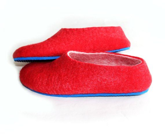 Army Wife Colourblock Felt Slippers Womens Slip Ons Red Blue White