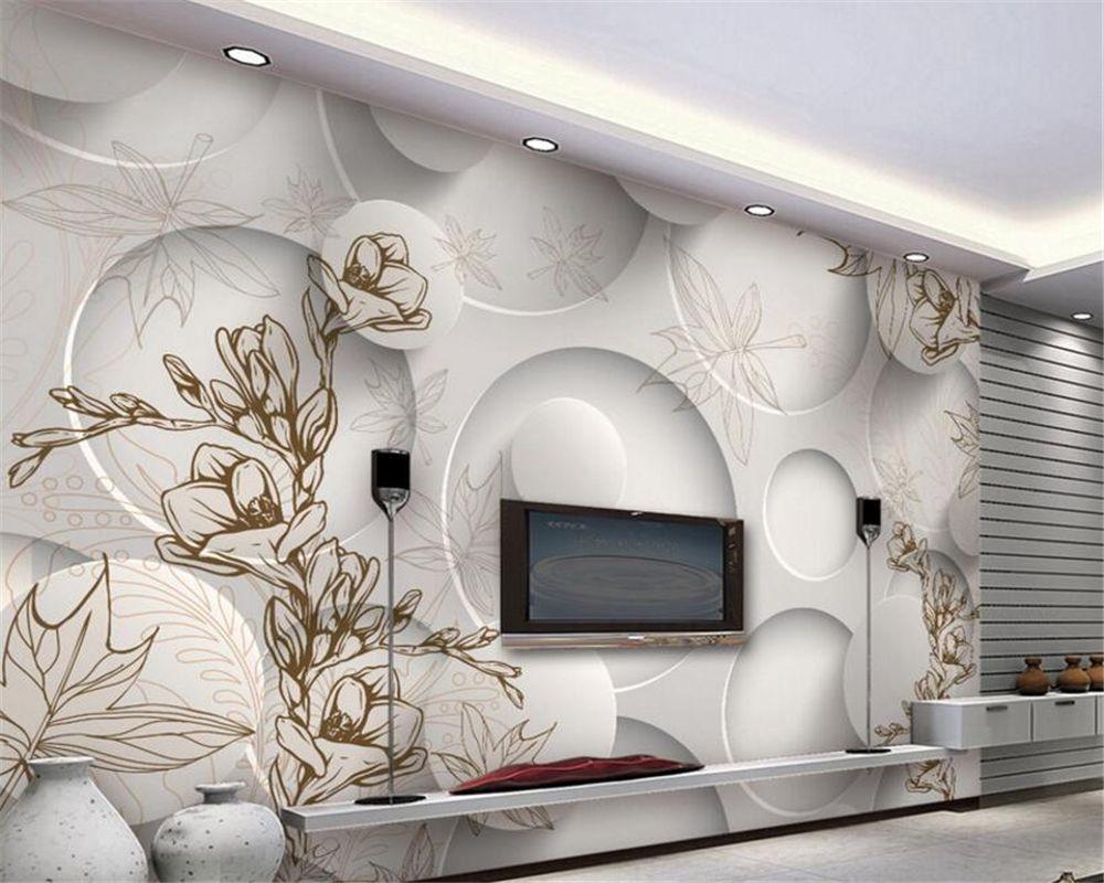 Beibehang 3d Wallpaper Modern Line Drawing Magnolia Maple
