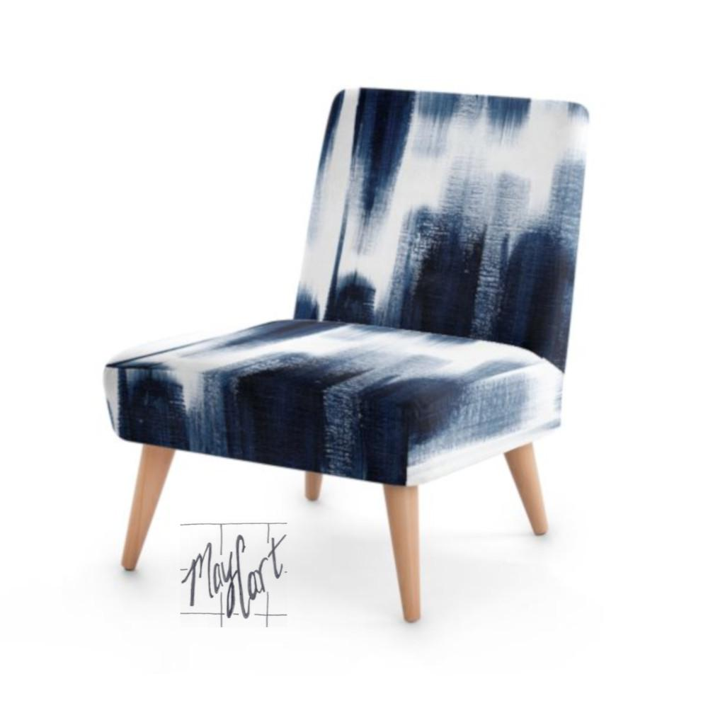 Midnight blue brushstrokes upholstered chairs with