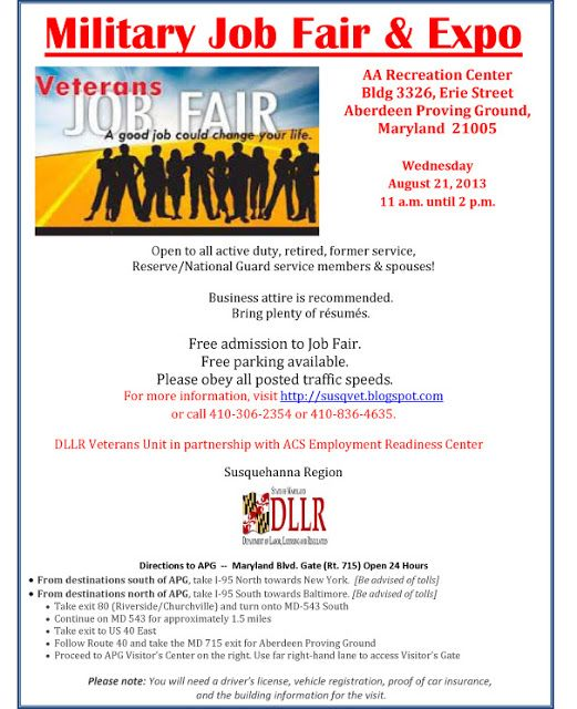 Veterans Job Fair Aberdeen Md August 21 2013 Veteran Jobs