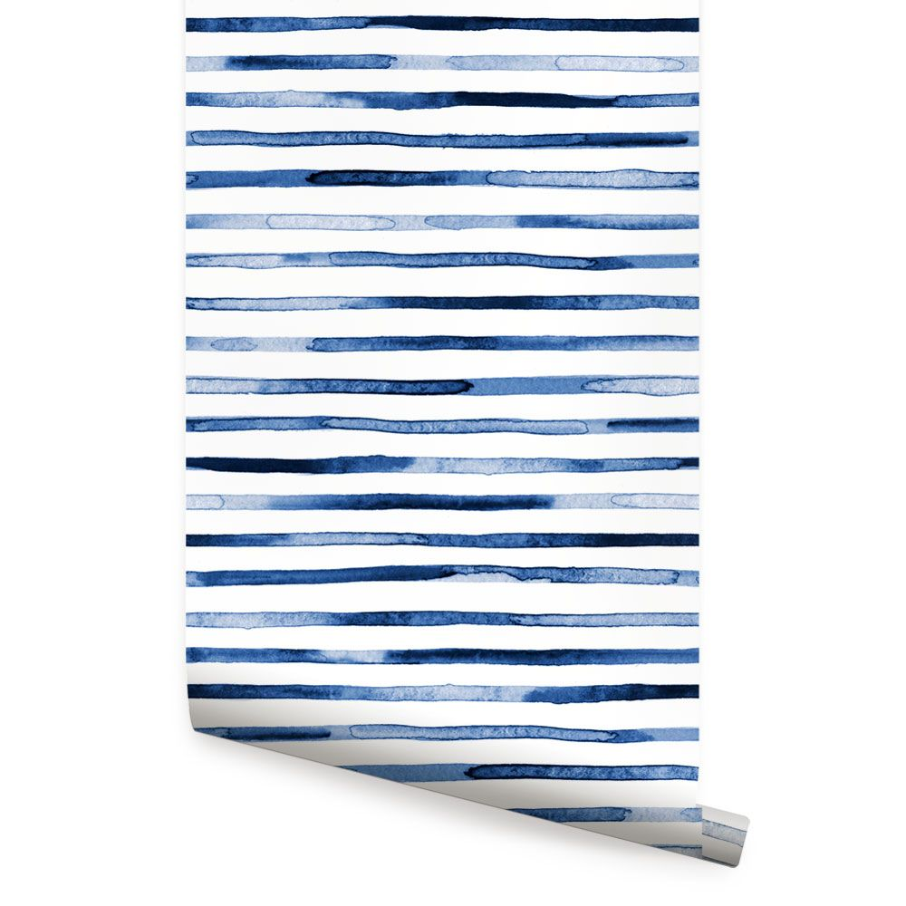 Watercolor Stripes Wallpaper Blue Peel And Stick In 2020
