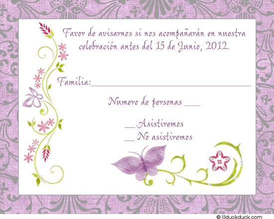 Purple Spanish Butterfly Response Card Spanish Response cards