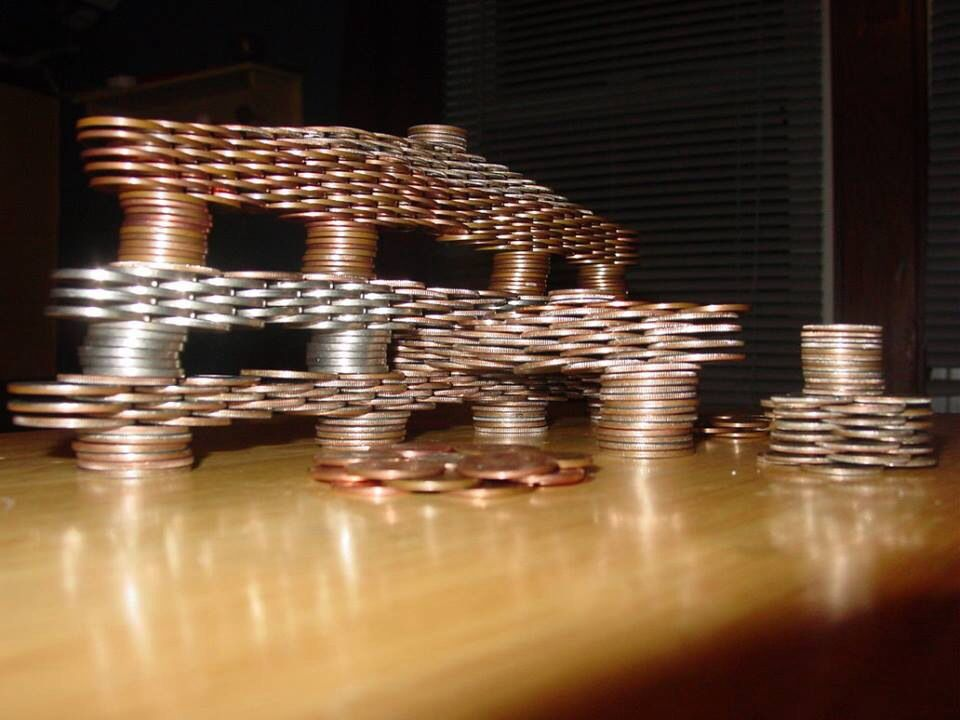 Stacked coins | Everything | Balance art, Coin art, Table Lamp