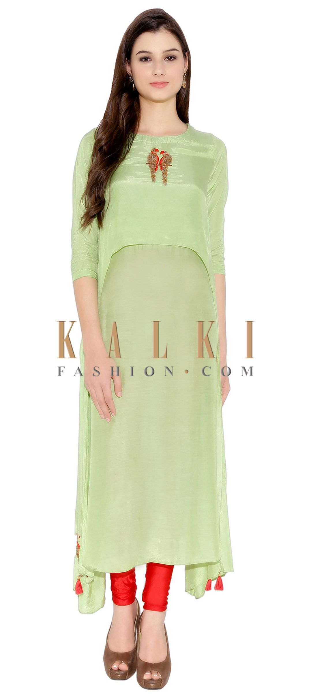 496e3a7dbfbee8 Pista Green Cotton Kurti With Thread And Sequin Embroidered Parrot Motif On  Neck And Bottom Only On Kalki