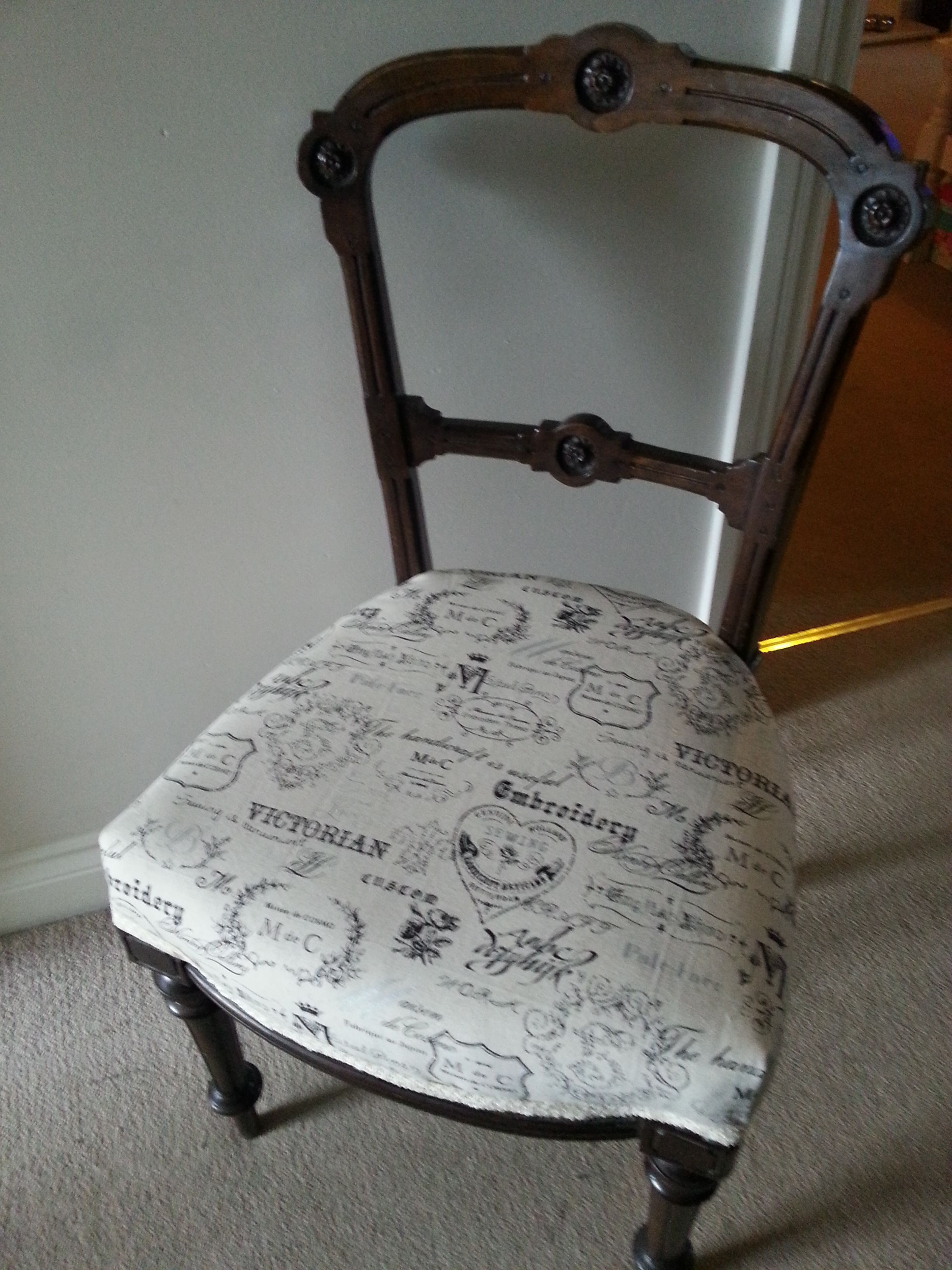 Edwardian Chair Lovingly Restored And Reupholstered Using A Stunning Vintage Fabric 45