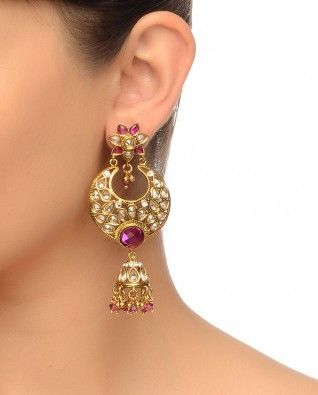 #Exclusivelyin, #IndianEthnicWear, #IndianWear, #Fashion, Crescent Moon Shaped Earrings (Maroon Stones)