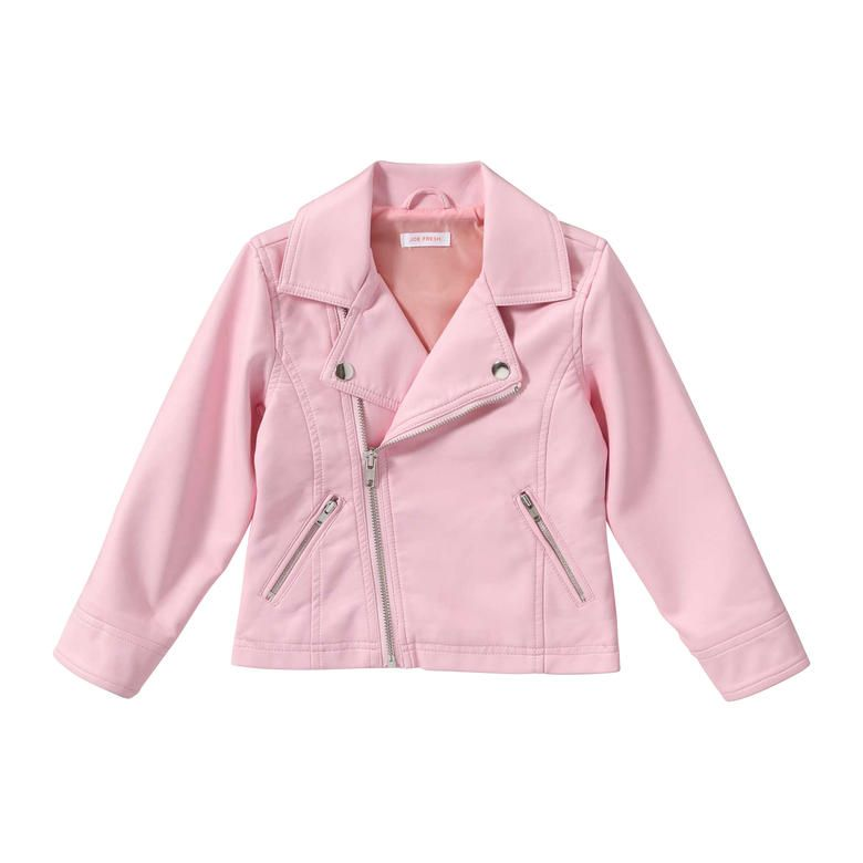 Girls Pink Faux Leather Jacket - JacketIn