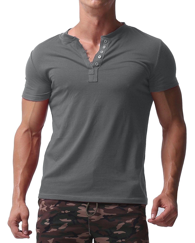 Mens short sleeve shirts button v neck tee slim fit