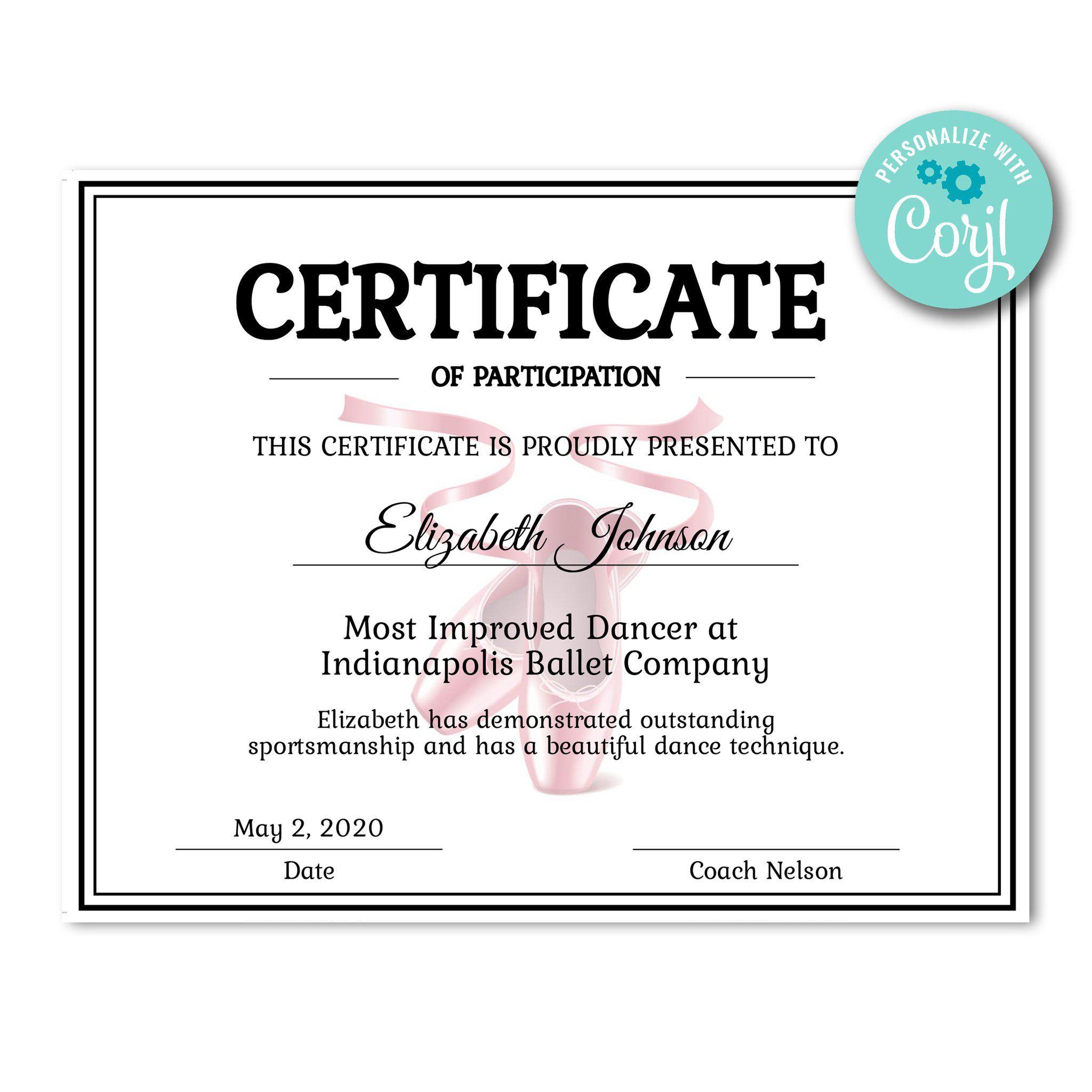 Ballet Certificate Certificate Templates Dance Technique