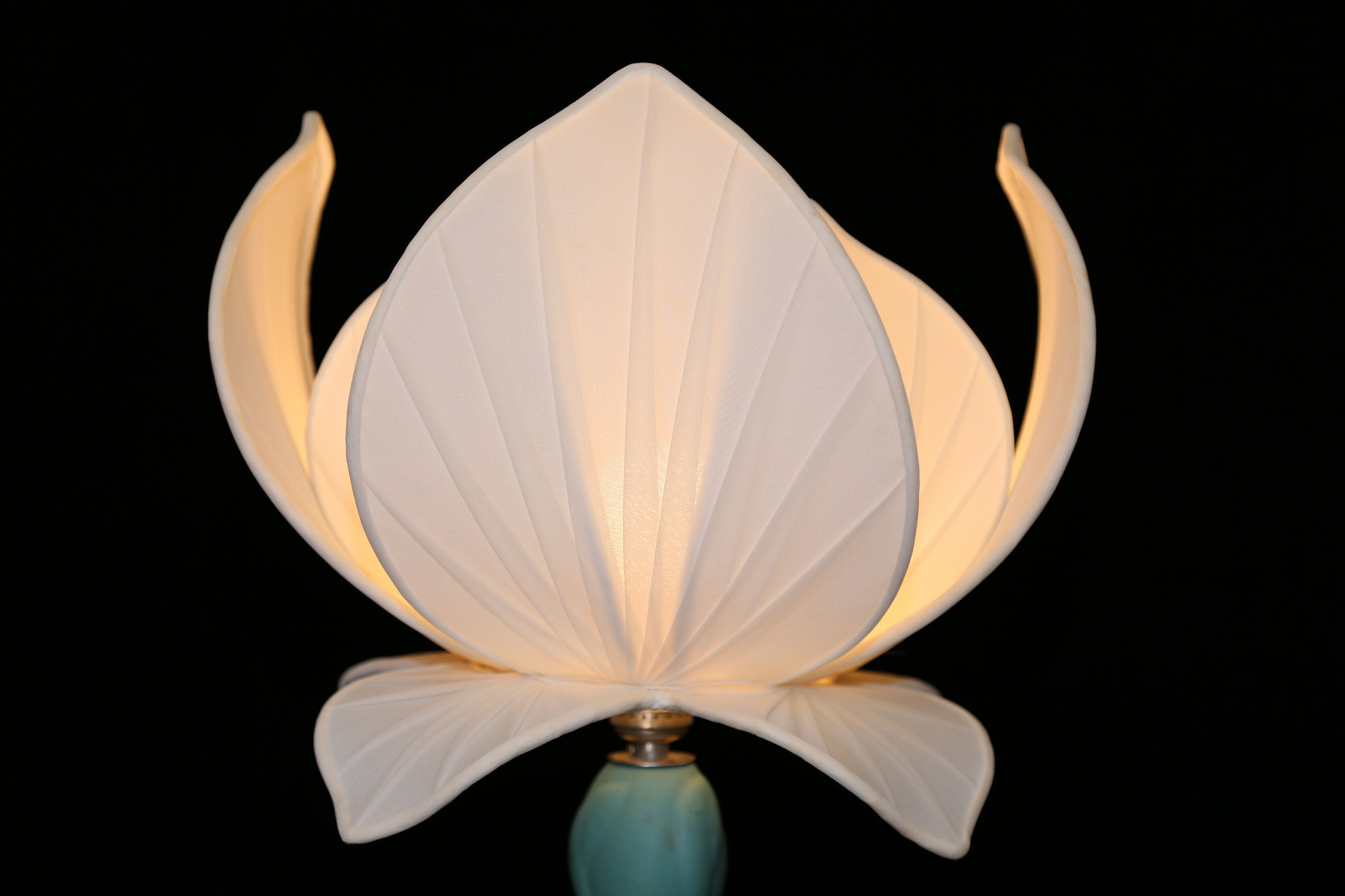 Vintage lotus flower lampshade authentic white fabric lotus lamp etsy your place to buy and sell all things handmade vintage lotus flower lampshade aloadofball Choice Image