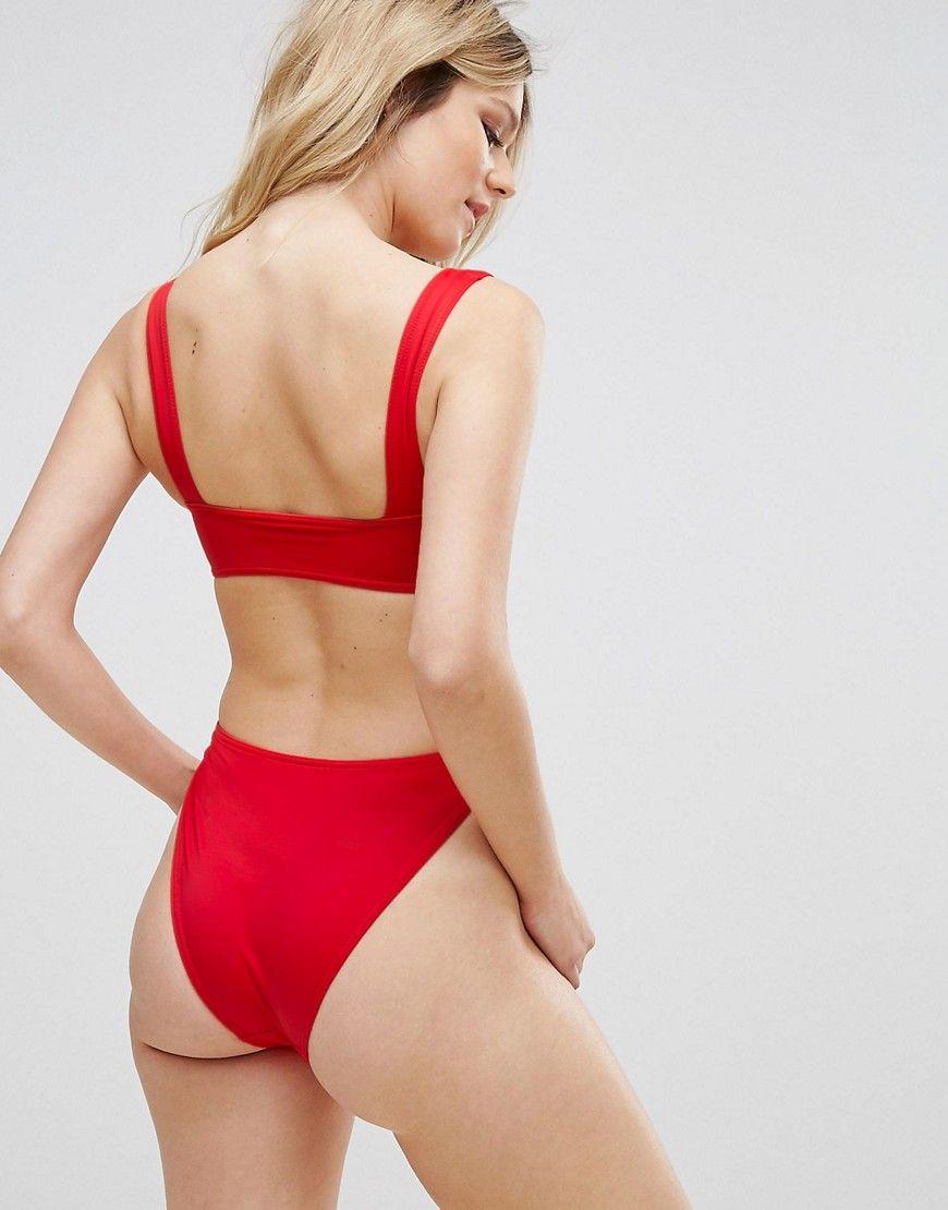 781d750d06e2a ASOS FULLER BUST Exclusive Plunge Side High Leg Swimsuit DD-G - Red ...