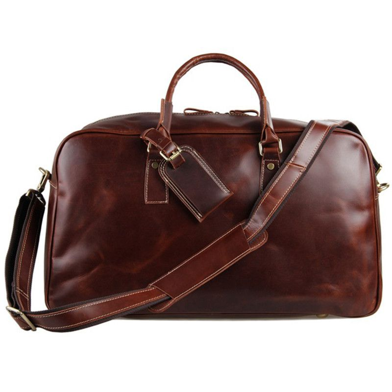 d759d9b2afbf Baigio Men s Leather Overnight Duffle Bag Retro Style Waterproof Designer  Business Travel Hand Luggage Suit Bags