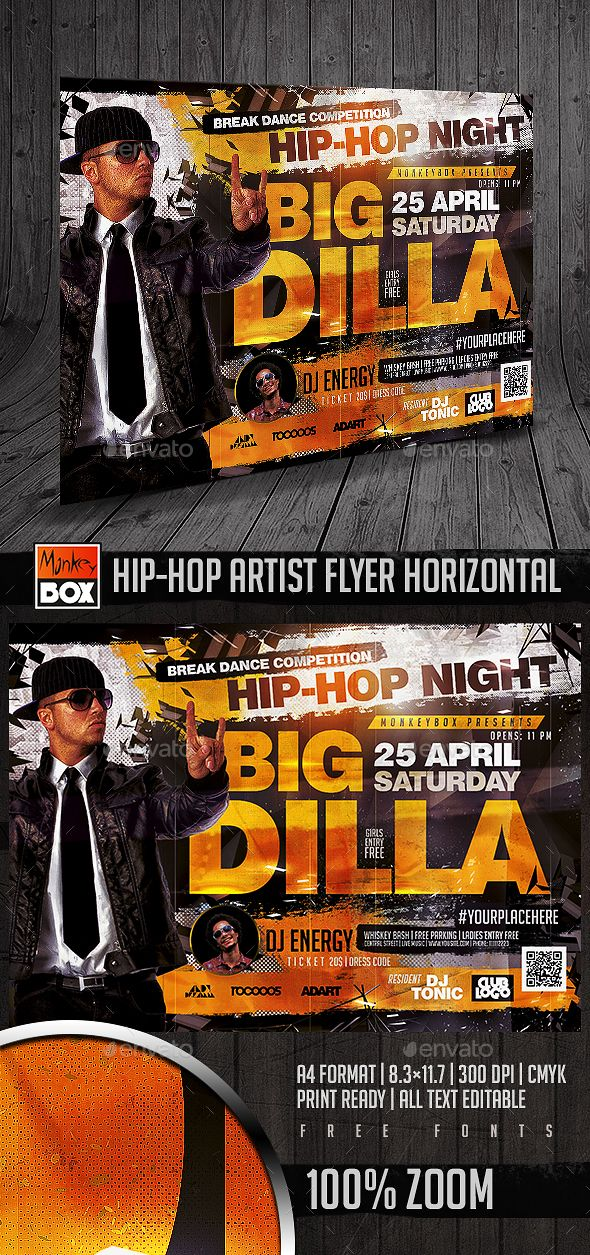 Hip Hop Artist Flyer Horizontal Print Templates Flyers To Make