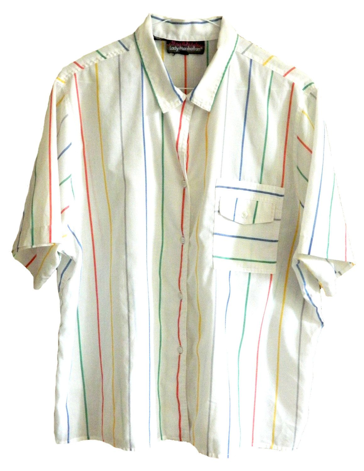 cf4871b63 Lady Manhattan mens womens vintage short sleeve white and colorful rainbow striped  button up shirt oversized baggy size 18 front pocket by ...