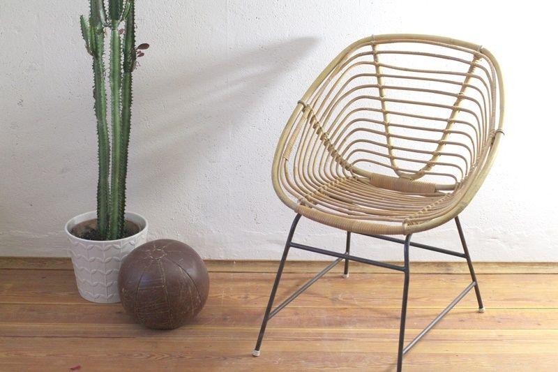 60er korbstuhl ddr korbsessel stuhl vintage bambus von for Korbsessel design