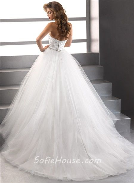 Puffy Ball Gown Wedding Dresses | Simple Ball Gown Strapless Lace ...