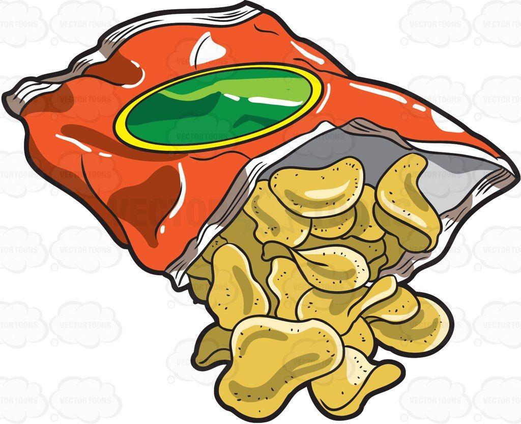 A Bag Of Crunchy Potato Chips Vector Graphics Vectortoons Com Potato Chips Crunchy Potatoes Drawing Bag