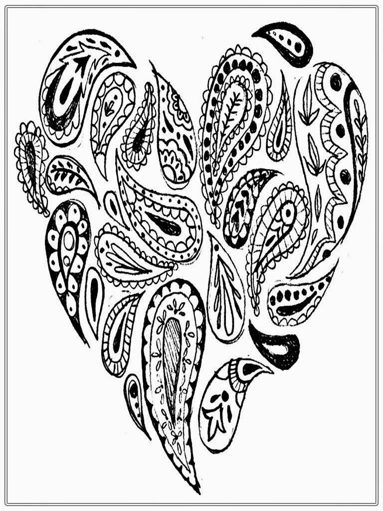 Heart Adult Coloring Pages Paisley Coloring Pages