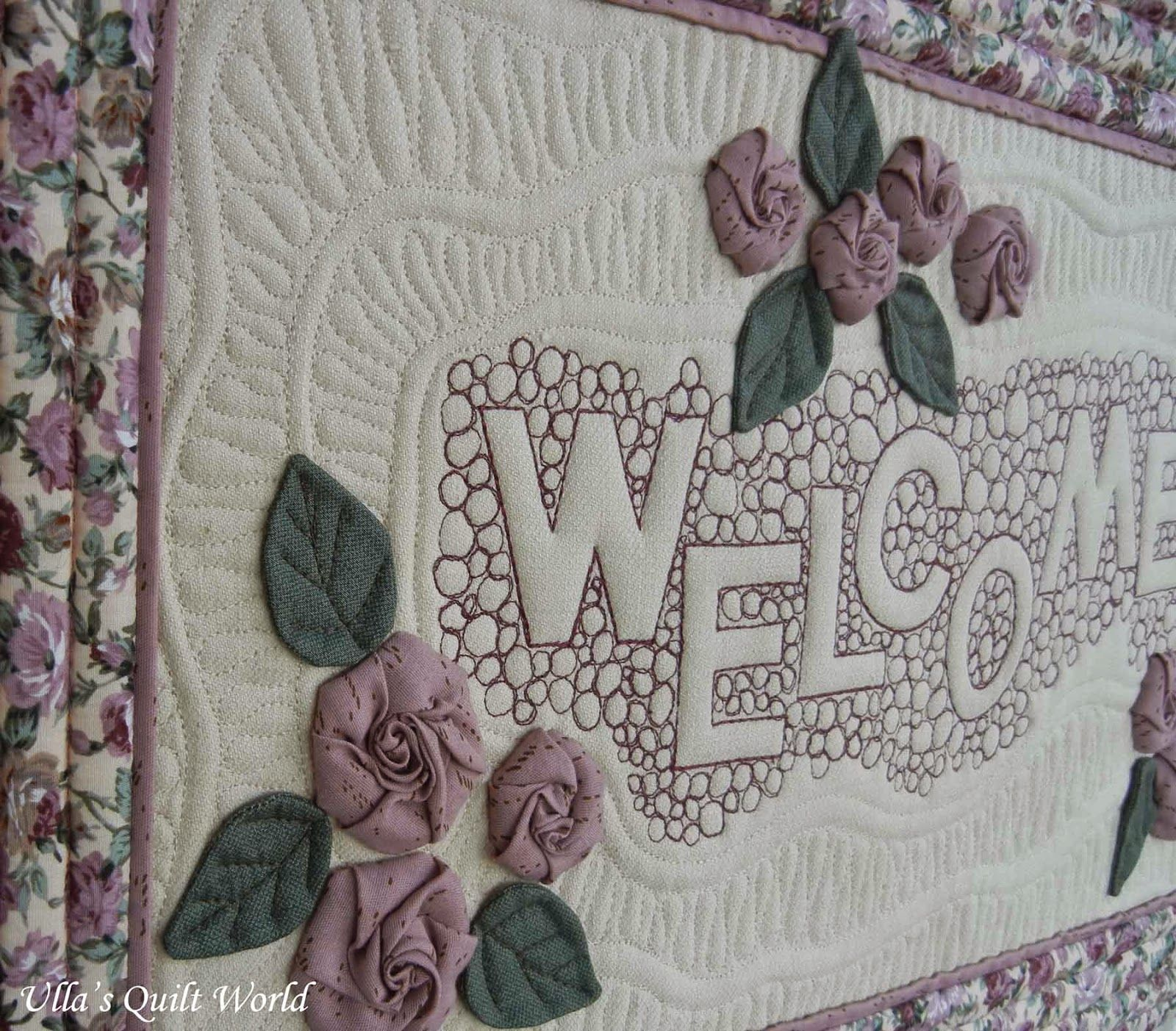 Ulla's Quilt World: Welcome quilt - Roses and free motion quilting