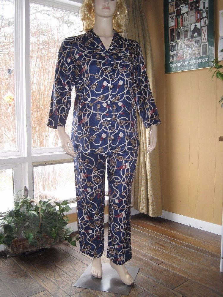 Talbots Intimates Size Large Dark Blue Silky Royal Print Pajama Set #TalbotsIntimates #PajamaSets