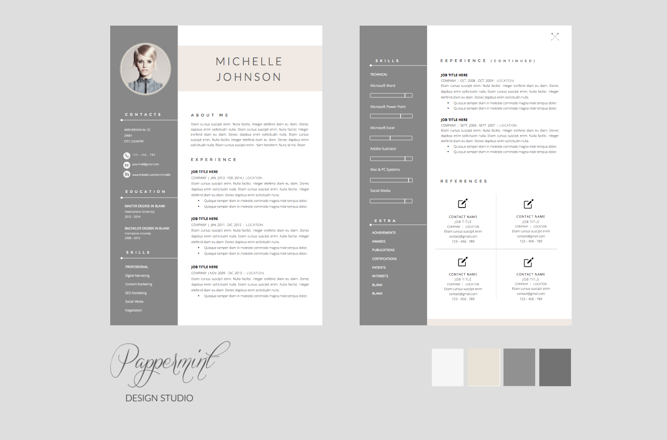 Resume Template  Cover Letter Word  Template Design Resume And