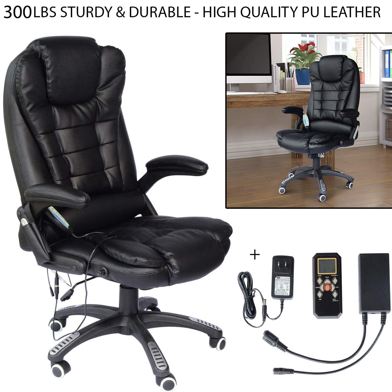 300 Lbs Sturdy Amp Durable Heated Vibrating Office Massage Chair Executive Ergonomic Computer Desk 6 Vib Office Chair Office Massage Chair Black Office Chair