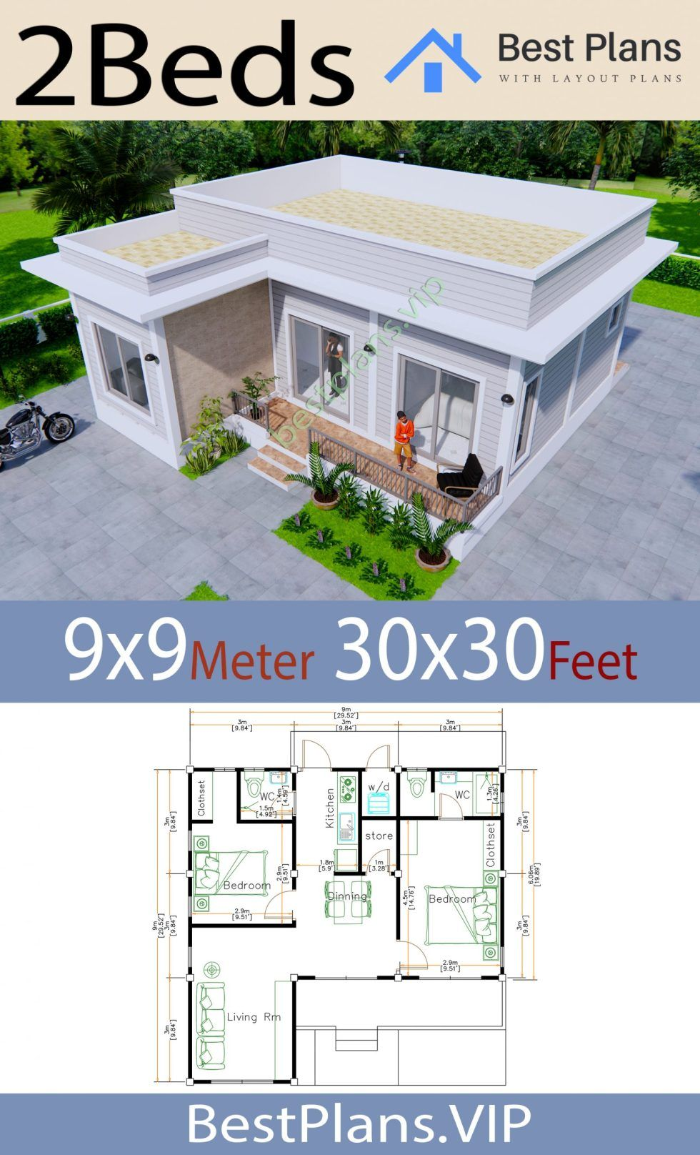 House Plans 9x9 Meters 30x30 Feet 2 Bedrooms Terrace Roof Best Plans Vip In 2020 House Plans Hip Roof Tiny House Design